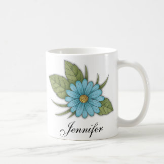 Margarida azul caneca de café