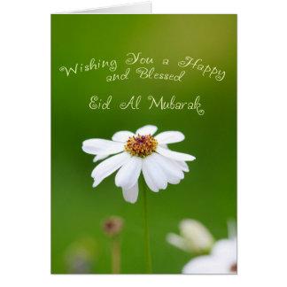 Margarida branca de Eid Mubarak Cartão