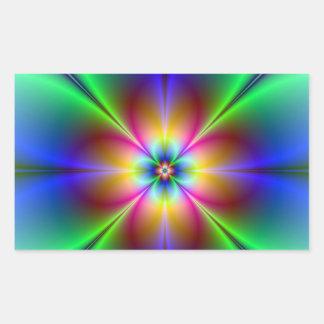 Margarida de néon colorida adesivo retangular