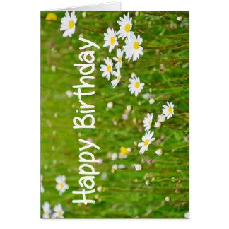 Margarida do cartão da flor do feliz aniversario