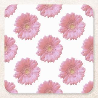 Margarida rosa pálido do gerbera porta-copo quadrado