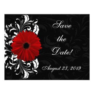 Margarida vermelha, preto e branco do Gerbera do r Convites Personalizados