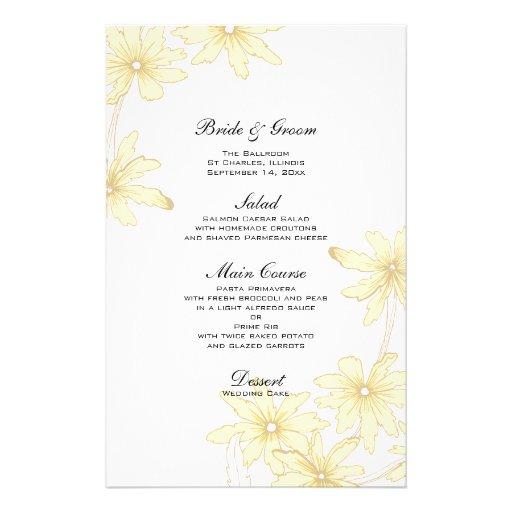 Margaridas amarelas que Wedding o menu Papel Personalizados