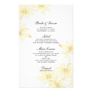 Margaridas amarelas que Wedding o menu Papelaria