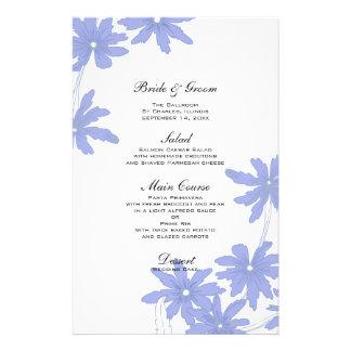Margaridas azuis da pervinca que Wedding o menu Papéis Personalizados