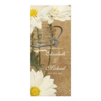 Margaridas brancas de frasco de pedreiro do vintag 10.16 x 22.86cm panfleto