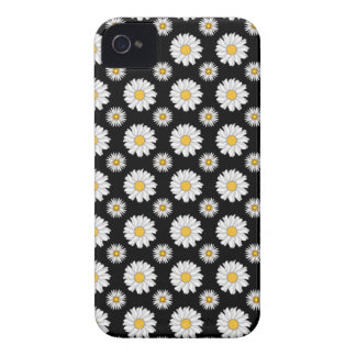 Margaridas brancas no fundo preto capas para iPhone 4 Case-Mate
