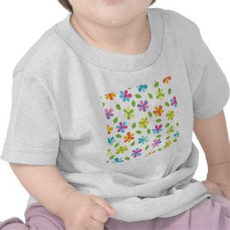Margaridas coloridos e foto floral das folhas t-shirt