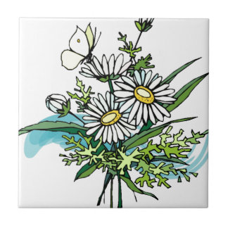 Margaridas com borboleta azulejo