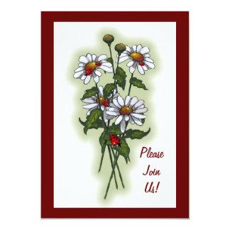 Margaridas com joaninhas, joaninha: Flores, Convite 12.7 X 17.78cm