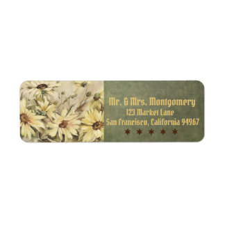 Margaridas do ouro com etiquetas de endereço do