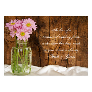 Margaridas do rosa do frasco de pedreiro que Weddi Modelos Cartao De Visita