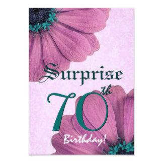 margaridas E002 do rosa do aniversário da surpresa Convite 12.7 X 17.78cm