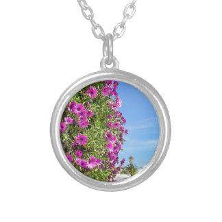 Margaridas espanholas cor-de-rosa de suspensão na colar banhado a prata