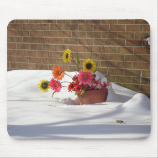 Margaridas na neve mouse pad