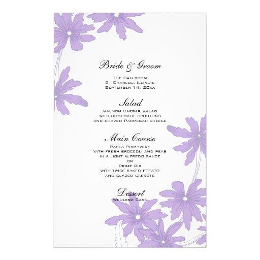 Margaridas roxas que Wedding o menu Papel Personalizado