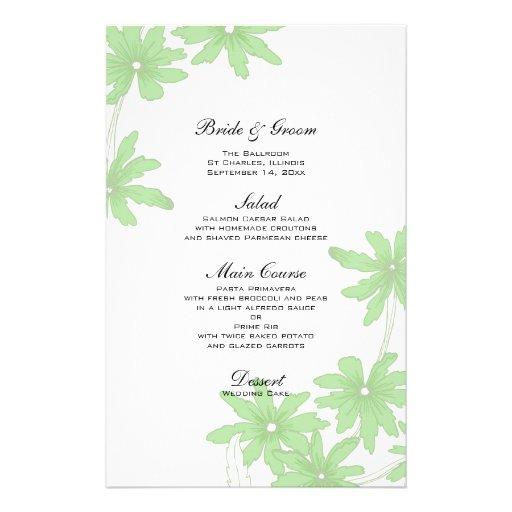 Margaridas verdes que Wedding o menu Papel Personalizado