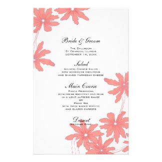 Margaridas vermelhas que Wedding o menu Papelaria Personalizada