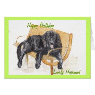 Marido do feliz aniversario do cão de Terra Nova Cartão Comemorativo