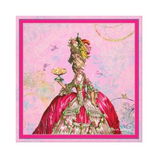 Marie Antoinette bolos e pavão Impressão De Canvas Esticada