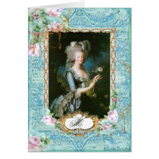 Marie Antoinette com rosas e laço cor-de-rosa Cartao