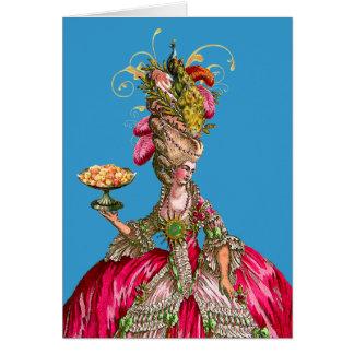 Marie Antoinette e pavão Cartão