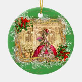 Marie Antoinette no Natal de Versalhes Ornamento De Cerâmica Redondo