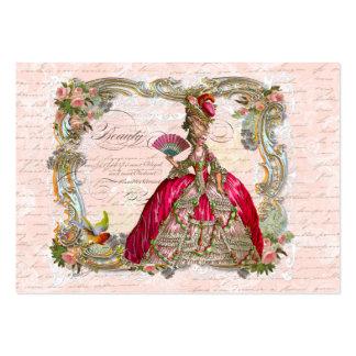 Marie Antoinette no rosa quente com rosas Cartão De Visita Grande