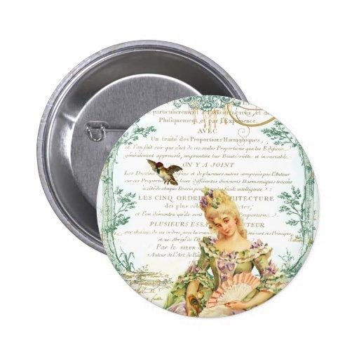 Marie Antoinette & pardal Bóton Redondo 5.08cm
