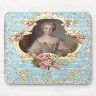 Marie novo Antoinette com rosas cor-de-rosa Mouse Pad