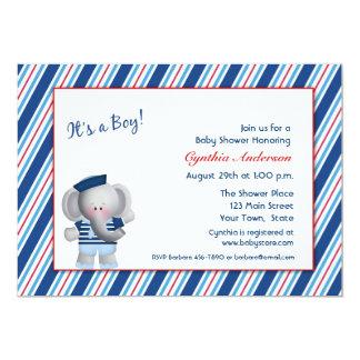 Marinheiro do elefante, chá do bebé convite personalizados