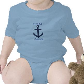 Marinheiro infantil do marinho do Creeper Macacãozinho Para Bebês
