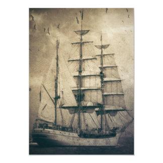 marinheiro retro rústico das ondas de oceano do convite 12.7 x 17.78cm