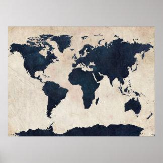 Marinho afligido mapa do mundo poster