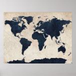 Marinho afligido mapa do mundo pôsteres