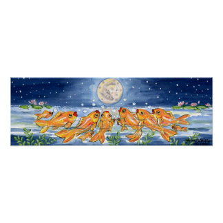 Marinho de observação do poster dos peixes da lua