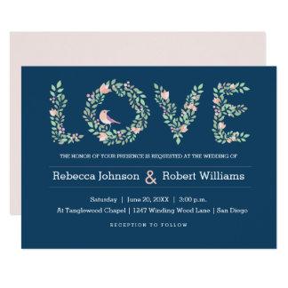 Marinho dos pássaros & das letras do amor convite 12.7 x 17.78cm