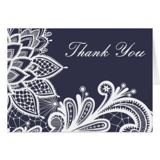 Marinho e cartões de agradecimentos brancos do