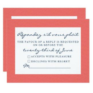 Marinho e coral rústicos do cartão da resposta do