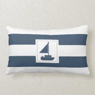 Marinho e listra náutica branca com veleiro almofada lombar