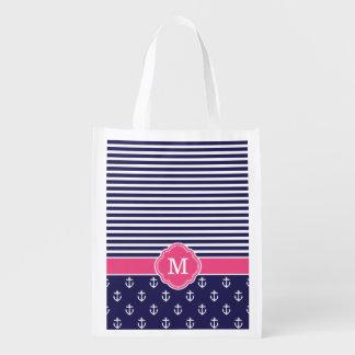 Marinho e listras e monograma cor-de-rosa das sacolas ecológicas