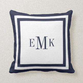 Marinho e monograma formal branco do costume dos travesseiro de decoração