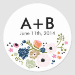 Marinho floral da etiqueta do círculo do casamento