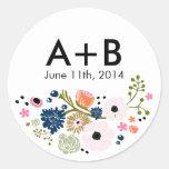Marinho floral da etiqueta do círculo do casamento adesivos redondos