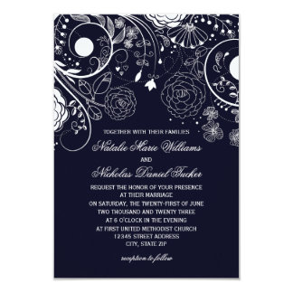 Marinho floral do teste padrão/branco - convite do