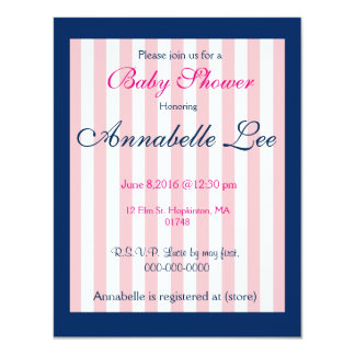 Marinho formal e convite cor-de-rosa do chá de