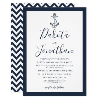 Marinho náutico & convite branco do casamento da