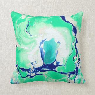 Mármore branco e azul verde almofada