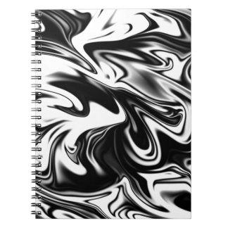 Mármore branco preto liquefeito, cadernos