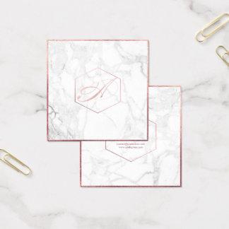 Mármore de PixDezines+Monograma cor-de-rosa do Cartão De Visitas Quadrado